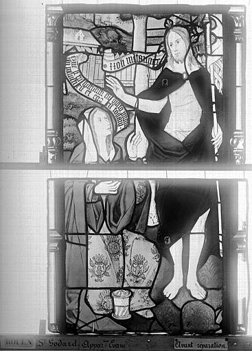 Eglise Saint-Godard Vitrail, baie 15, Apparition du Christ, troisième panneau, Heuzé, Henri (photographe),