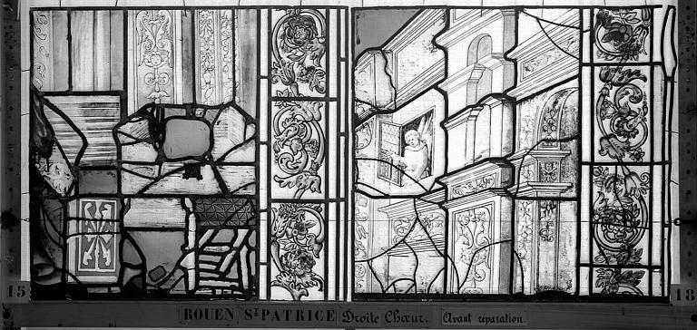 Eglise Saint-Patrice Vitrail, fenêtre droite du choeur, neuvième panneau, Heuzé, Henri (photographe),