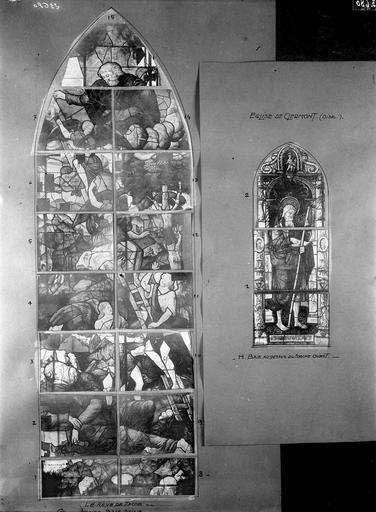 Eglise Vitraux, abside, baie G et façade ouest, baie H, Service photographique,