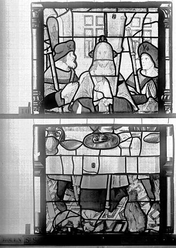 Eglise Saint-Godard Vitrail, baie 15, Apparition du Christ, quatrième panneau, Heuzé, Henri (photographe),