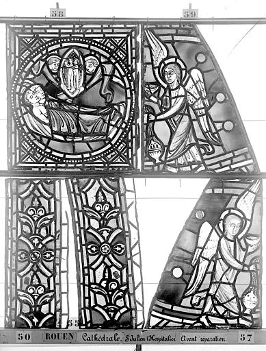Cathédrale Vitrail, déambulatoire au nord, saint Julien l'Hospitalier, bordures et panneau, Heuzé, Henri (photographe),