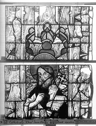 Cathédrale Vitrail, Chapelle Jeanne d'Arc, la Vierge et l'Enfant, saint jean, baie 36, dixième panneau, en haut, Heuzé, Henri (photographe),