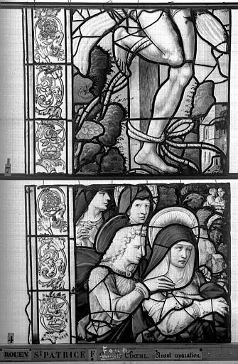 Eglise Saint-Patrice Vitrail, fenêtre au fond du choeur, la Crucifixion, lancette de gauche, quatrième panneau supérieur, Heuzé, Henri (photographe),