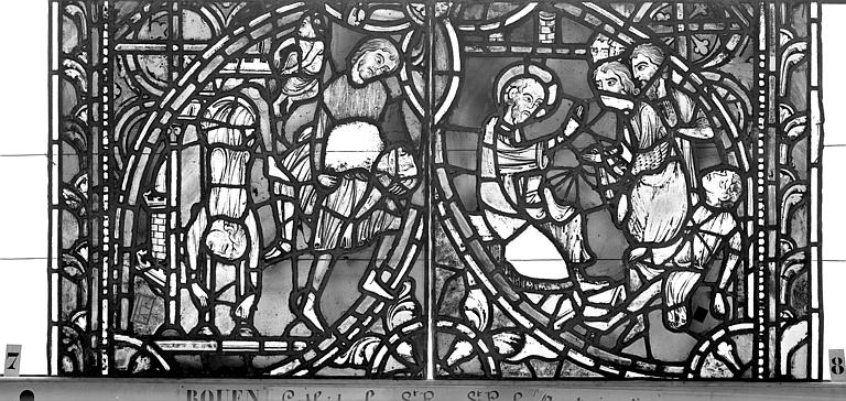 Cathédrale Vitrail, sacristie des Chanoines, saint Pierre et saint Paul, dixième panneau, Heuzé, Henri (photographe),
