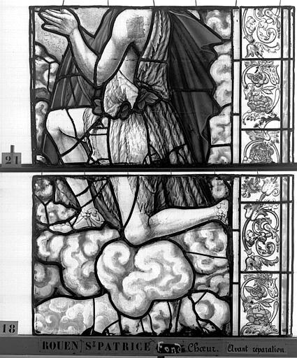 Eglise Saint-Patrice Vitrail, fenêtre au fond du choeur, la Crucifixion, lancette de droite, deuxième panneau, Heuzé, Henri (photographe),