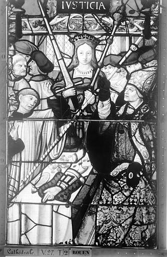 Cathédrale Vitrail, Chapelle Saint-Joseph, Vie de saint Romain, lancette médiane, deuxième panneau, en haut, Heuzé, Henri (photographe),