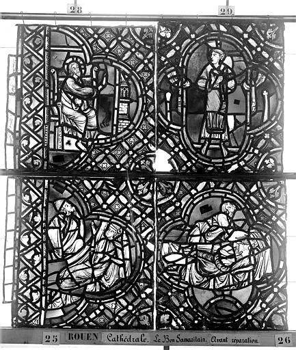 Cathédrale Vitrail, déambulatoire, baie 52, le Bon Samaritain, quatrième panneau, en haut, Heuzé, Henri (photographe),