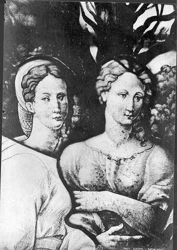 Eglise Saint-Gervais-Saint-Protais Vitrail : détail de deux bustes de femmes, Leprévost (photographe),