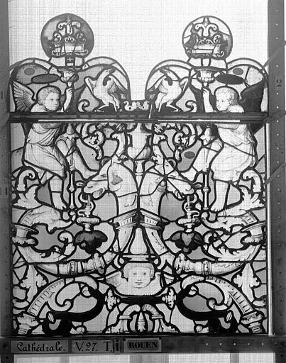 Cathédrale Vitrail, Chapelle Saint-Joseph, Vie de saint Romain, lancette de gauche, premier panneau, en haut, Heuzé, Henri (photographe),