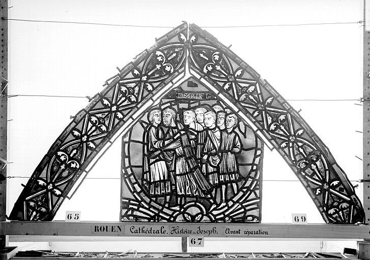 Cathédrale Vitrail, déambulatoire, baie 57, Histoire de Joseph, premier panneau en haut, Heuzé, Henri (photographe),
