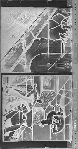 Eglise Saint-Godard Vitrail, baie 17, Vie de saint Romain, onzième panneau, en haut, Heuzé, Henri (photographe),
