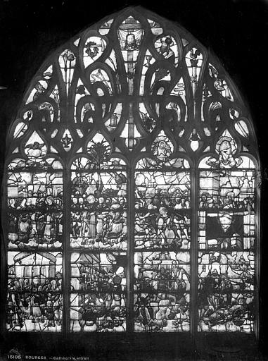 Cathédrale Saint-Etienne Vitrail : vie de saint Vincent et de saint Laurent, Leprévost (photographe),