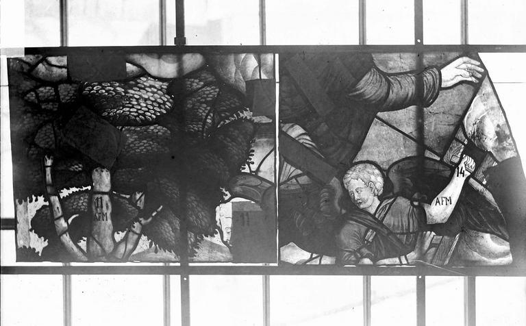 Eglise Vitraux, panneaux 7 et 13 de la baie G, Nadeau, H. (photographe),