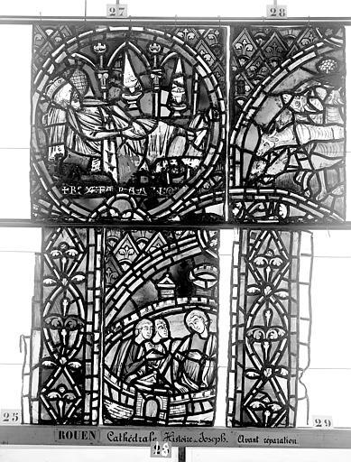 Cathédrale Vitrail, déambulatoire, baie 57, Histoire de Joseph, neuvième panneau en haut, Heuzé, Henri (photographe),