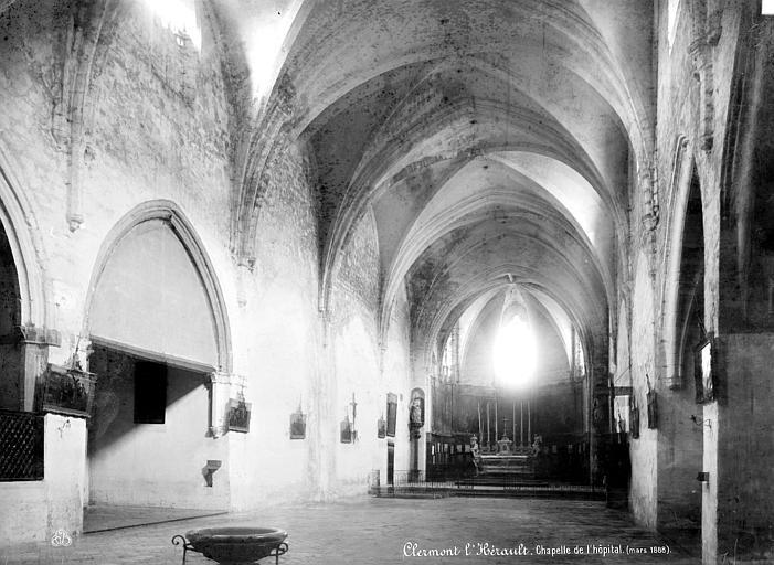 Couvent de Bénédictines;Hôpital de Récollets Chapelle : Vue intérieure de la nef vers le choeur, Mieusement, Médéric (photographe),