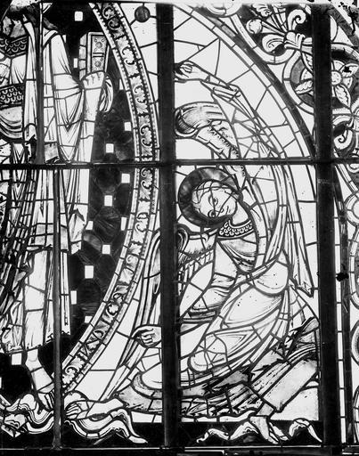 Cathédrale Saint-Pierre Vitrail, angelot du tympan, Magne, Louis,