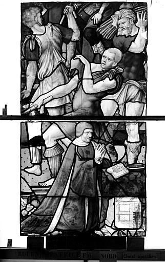 Eglise Saint-Patrice Vitrail, Légende de saint Eustache, lancette de droite, troisième panneau, Heuzé, Henri (photographe),