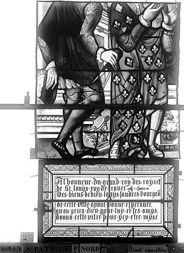 Eglise Saint-Patrice Vitrail, Vie de saint Louis, lancette médiane, troisième panneau, Heuzé, Henri (photographe),