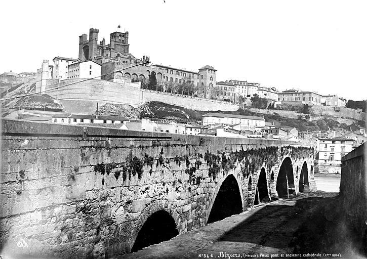 Vieux Pont;Cathédrale Saint-Nazaire (ancienne) Vue générale, Mieusement, Médéric (photographe),