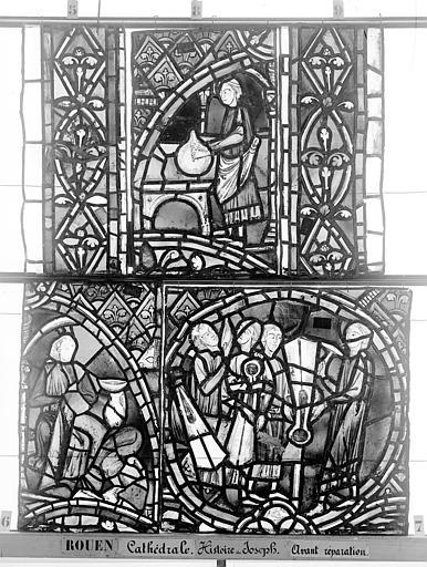 Cathédrale Vitrail, déambulatoire, baie 57, Histoire de Joseph, treizième panneau en haut, Heuzé, Henri (photographe),
