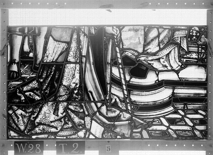 Cathédrale Vitrail, Chapelle Saint-Joseph, lancette médiane, Légende de saint Romain, septième panneau, en haut, Heuzé, Henri (photographe),