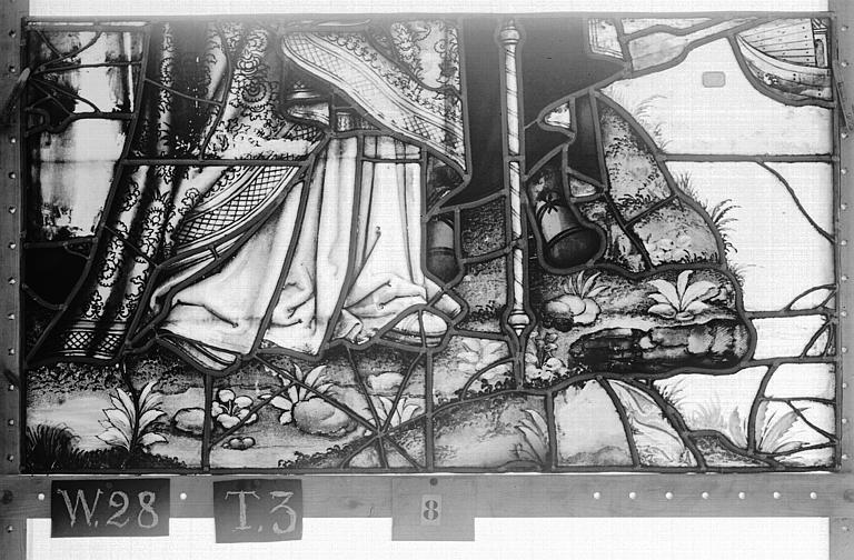 Cathédrale Vitrail, Chapelle Saint-Joseph, lancette de droite, Légende de saint Romain, quatrième panneau, en haut, Heuzé, Henri (photographe),
