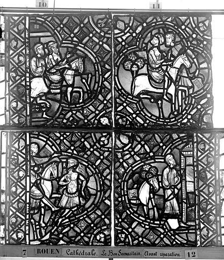 Cathédrale Vitrail, déambulatoire, baie 52, le Bon Samaritain, huitième panneau, en haut, Heuzé, Henri (photographe),