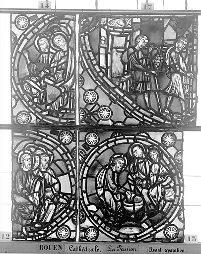 Cathédrale Vitrail, déambulatoire, la Passion, huitième panneau, Heuzé, Henri (photographe),