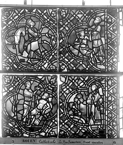 Cathédrale Vitrail, déambulatoire, baie 52, le Bon Samaritain, dixième panneau, en haut, Heuzé, Henri (photographe),