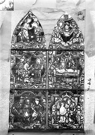 Eglise Saint-Gengoult Vitrail de la petite chapelle absidiale gauche, panneaux supérieurs des deux lancettes 3, 4, 5, 8, 9, 10, Romanais (photographe),