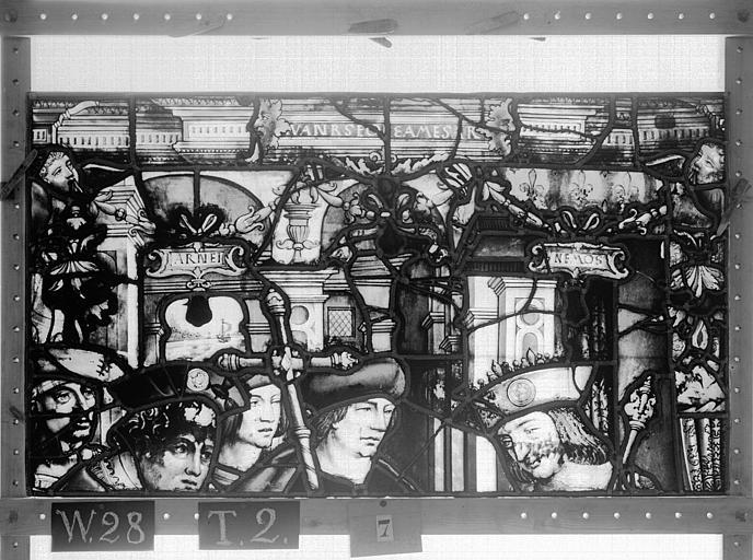 Cathédrale Vitrail, Chapelle Saint-Joseph, lancette médiane, Légende de saint Romain, cinquième panneau, en haut, Heuzé, Henri (photographe),