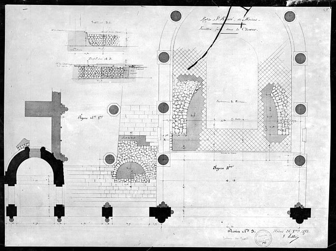 Eglise Saint-Remi Plan des fouilles dans le chœur, sans nom, 75 ; Paris ; Médiathèque de l'Architecture et du Patrimoine