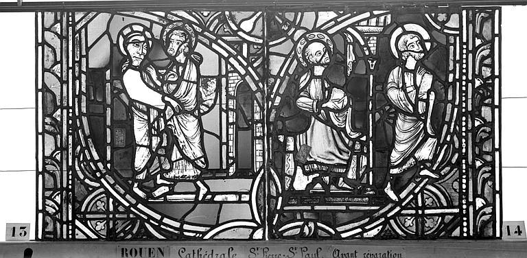 Cathédrale Vitrail, sacristie des Chanoines, saint Pierre et saint Paul, septième panneau, Heuzé, Henri (photographe),