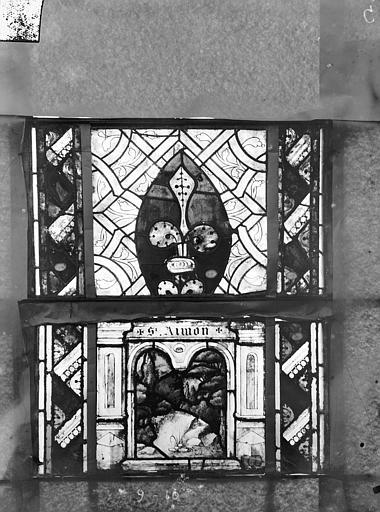 Eglise Saint-Gengoult Vitrail du transept sud, fenêtre A, 2ème lancette, panneaux supérieurs 9, 10, Romanais (photographe),