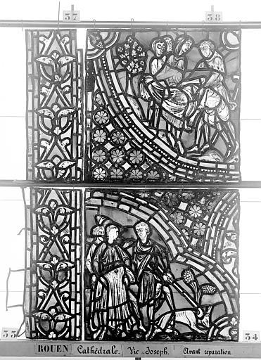 Cathédrale Vitrail, baie 59, Vie de Joseph, cinquième panneau, en haut, Heuzé, Henri (photographe),